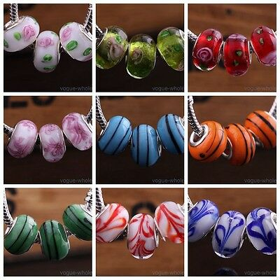 10pcs Round Glass Lampwork Murano Spacer Loose Beads Fit European Charm Bracelet