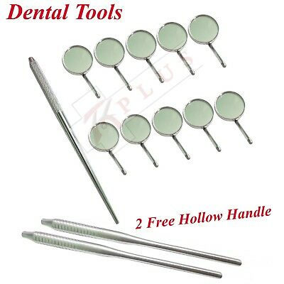 Dental Mirror Handle with 10 x Mouth Mirror Magnifying No 4 Free Mirror HAndle