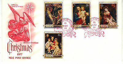 NIUE 1977 CHRISTMAS Stamp Set FIRST DAY COVER Ref:CW474