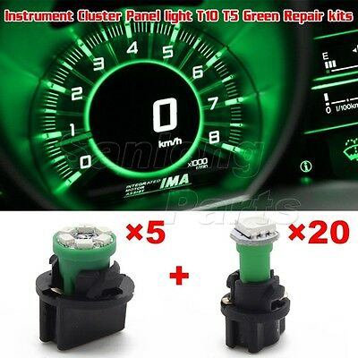 25Pack 74 194 T5 T10 Green LED Bulb Instrument Gauge Cluster Light Replacement