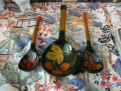 Fabulous Vintage Wood Laquer Hand Painted Russian Spoons and Ladle
