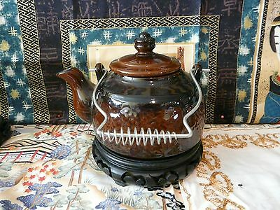 Pretty Japanese Clay Brown Vintage Teapot with Metal Handle