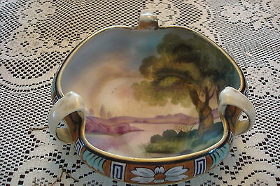 Early NIPPON MORIAGE Tri-lobed Bowl hand painted. c1900s [*MOR]