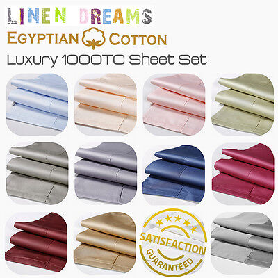 All Size 4 Piece 1000Tc Egyptian Cotton Flat Fitted Sheet Set Pillowcase