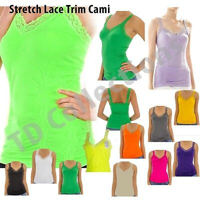 New Fashion Sexy Seamless Stretch Lace Trim Cami Spaghetti Strap Tank Top HOT