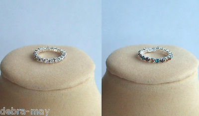 TWO Sparkly Clear/Multi Crystal Diamante Stretch Pinky Finger Knuckle Toe Ring
