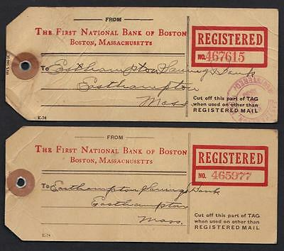 US 1930-32 THE 1st NATIONAL BANK OF BOSTON MAS 2 REG TAG BEARING 12 PERFIN STAMP