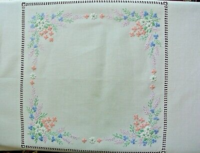 Vintage style, hand embroidered table cloth (pastel)