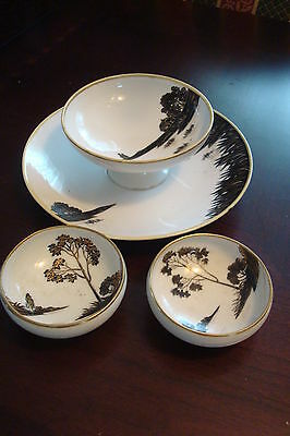 Nippon/Noritake set of sauce bowl with underplate and 2 footed sauce dishes]4-*7