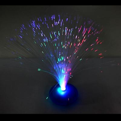 New Color Changing LED Fiber Optic Nightlight Lamp Light Home Decor Blue Stand