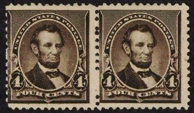 US Sc# 222 *MINT OG 1NH* { 4c LINCOLN } SCARCE BANKNOTE PAIR OF 1890 CV $ 365.00