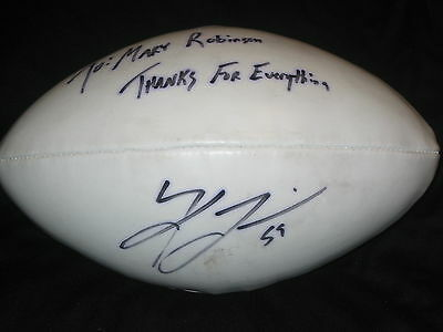 MYSTERY AUTHENTIC HAND SIGNED AUTOGRAPHED NFL FOOTBAL UNIDENTIFIED PLAYER INSCR.