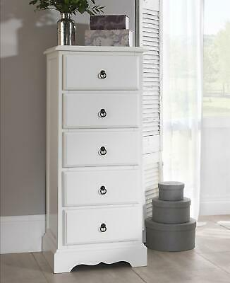 ROMANCE 5 Drawer Tallboy, Shabby Chic white narrow chest of drawers, ASSEMBLED