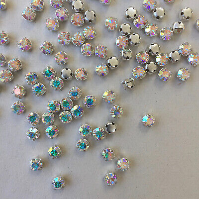 10/50/100 x PRECIOSA Sew-On Chatons/Rhinestones/Diamantes - 4.8 mm Crystal+ A/B.