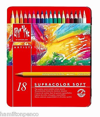 CARAN D'ACHE SUPRACOLOR SOFT TIN of 18 water soluble soft colour pencils