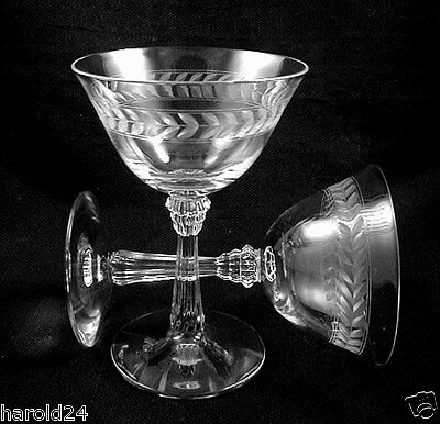 """Vintage WEDDING CHAMPAGNE GLASSES """"LAUREL"""" by FOSTORIA 1938-60- FREE Shipping!"""