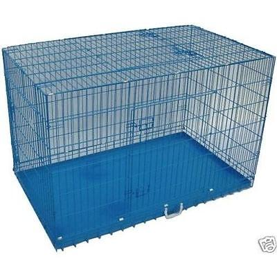"""Blue 36"""" 3 Doors Folding Suitcase Dog Crate Cat Cage Kennel w/DIVIDER Metal Pan"""