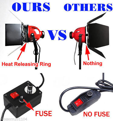 3x800W Redhead Continuous Lighting Video Photo Red Head Light Kit + Heat release