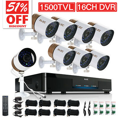 ELEC® 8CH Channel HDMI CCTV DVR Home Video Outdoor Security Camera System 1TB