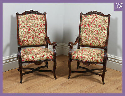 Antique Pair Two 2 French Walnut Tapestry Library Hall Armchairs Chairs c.1840