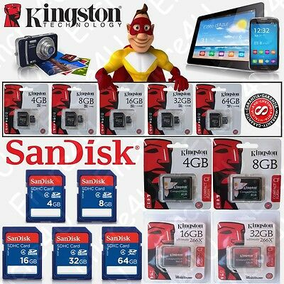 Carte mémoire SANDISK / KINGSTON Micro SDHC SDXC SDCA SD CF : 4 8 16 32 64 Go Gb