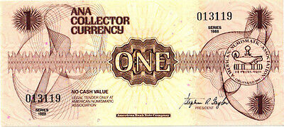 Ana Collector Currency Brown $1.00 Series 1988 Abnc Mint