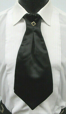Black Cravat Tie With Pin Ascot Theater Costume Cutaway **Free Shipping**