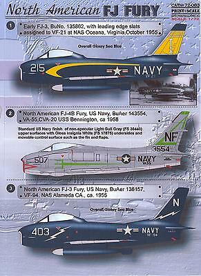 Print Scale Decals 1/72 NORTH AMERICAN FJ FURY Jet Fighter