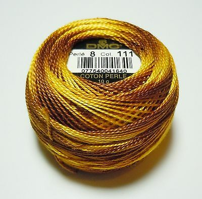 DMC Pearl Cotton Ball (10 gram) Size 8 Color #111 Variegated Mustard
