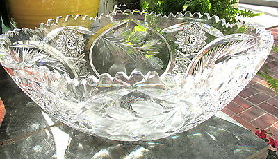 ABP BRILLIANT GRAVIC CUT GLASS BOWL W/ ENGRAVED PEARS / HOBSTARS HAWKES/TUTHILL