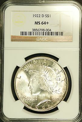 "1922 D Peace Dollar NGC MS-64+ "" Great Eye Appeal"""