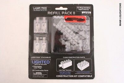 LOT OF 4 Laser Pegs 1470 Refill Pack II Lighted Stackables Blue Lego Compatible