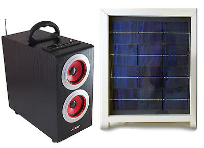 Solar Power Radio Boombox with Subwoofer, Portable with Solar Panel, Red