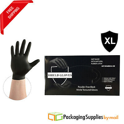 500 Disposable Black Nitrile Gloves Powder & Latex Free 3.5 Mil Size: Xlarge
