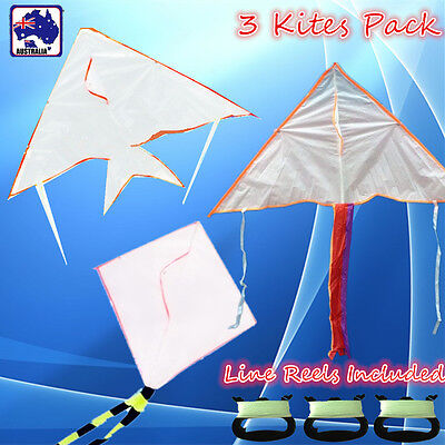 3x Kids Educational Blank Painting Kite Line included Fish Diamond Delta OKITE20
