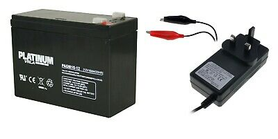 Toy Car Battery and Charger Combo 12V 10ah Battery & 12 Volt Mains Charger