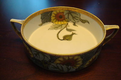 Noritake Morimura c1910s two handle bowl sunflowers [4-7*]