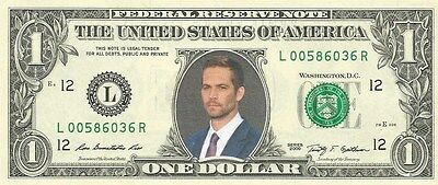 Paul Walker (Fast and the Furious) {in COLOR} - REAL Dollar Bill