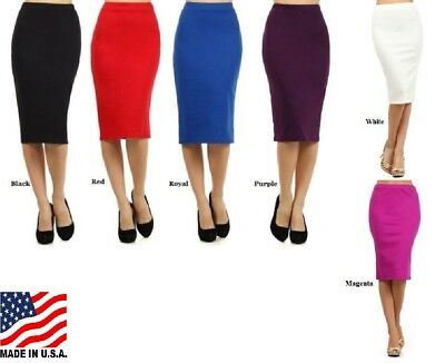 Plus Size  Pencil Skirt Knit Assorted Colors A Line Form Fitting Xl 2Xl 3Xl