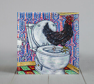 CHICKEN rooster hen birds animals art tile coaster new impressionism bathroom