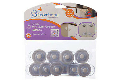 New Dreambaby 5 x Baby Safety Flexible Mini Multi Purpose Latches Dream Value