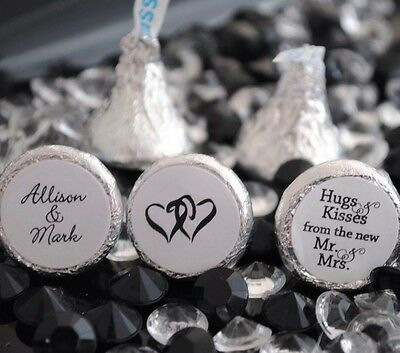 108 Hugs & Kisses from the new Mr. & Mrs. Hershey Kiss Personalized Stickers