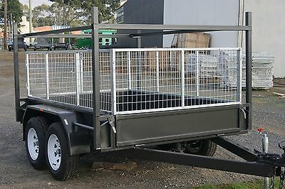 8x5 Tandem Trailer with Electric Brakes, Racks & 2ft Full Galvanised Cage