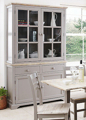 FLORENCE Large Grey Display Cabinet, Glass Dresser,ASSEMBLED kitchen furniture