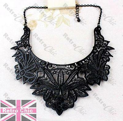 BIG BLACK FILIGREE fashion COLLAR NECKLACE bib choker VINTAGE STYLE LACE DETAIL