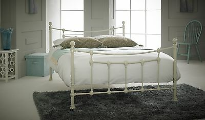 CHESTER Small Double 4ft Metal Bed TEXTURED CREAM with Sprung Wood Slats