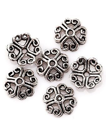 50Pcs New Butiful Tibetan Silver Flower Shaped Bead Caps For Jewelry Making 8mm