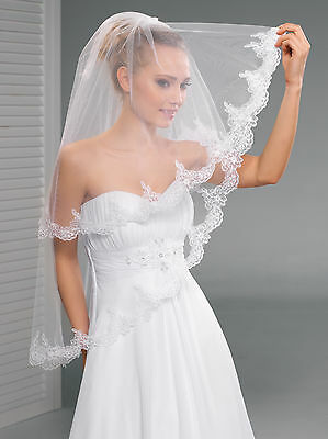 """2T White / Ivory Wedding Prom Bridal Fingertip Veil With Comb 40""""- Lace Edge"""