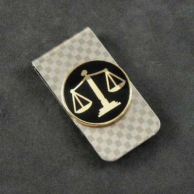 Scales of Justice Emblem Lawyer Legal Attorney Money Clip Chrome
