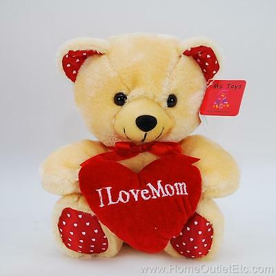 """8"""" Plush I Love Mom Bear Red Heart-Shaped Pillow Mother's Day Stuffed Animal Toy"""